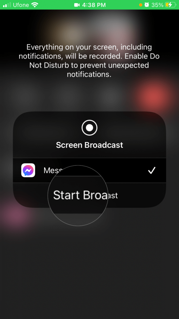 Start Broad cast iOS FaceBook Messenger app