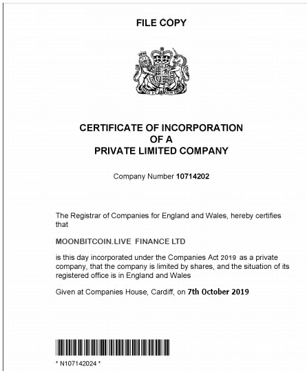 Companies House certificate of incorporation – Investment scam