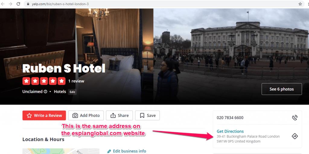 espianglobal.com uses a hotel addres