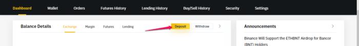 binance deposit 1